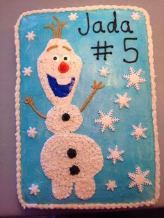 Olaf cake with snowflakes and cream filling. Frozen Birthday Party, 5th Birthday, Birthday Cakes, Olaf Cake, Sheet Cakes, Cake Icing, Disney Ideas, Cooking Ideas, Gingerbread Cookies