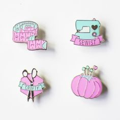 sew crafty pin badges pins enamel badge sewist craft pink turquoise new