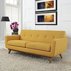 Modway Engage Upholstered Loveseat in Citrus