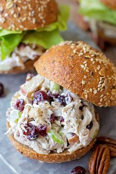 Sweet cranberries, toasted pecans, Dijon mustard and Greek yogurt are the secret ingredients that make this chicken salad a fall favorite! It's perfect for special occasions, lunch or even dinner! salad Cranberry Pecan Chicken Salad - Life Made Simple Pecan Chicken Salads, Chicken Salad Recipes, Salad Chicken, Diced Chicken, Rotisserie Chicken Salad, Cranberry Chicken Salad Sandwich Recipe, French Chicken Salad Recipe, Chicken Salad On Croissant, Taragon Chicken Salad