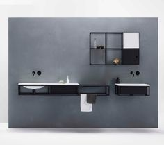 Washbasin with grid and cabinet
