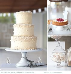 Meringues in apothecary jars, sweet cakes, and a stunning cream and pearl wedding cake
