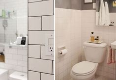 Great idea, dark grout color for tiles in the bathroom. I love white grout but it is high maintenance that I don't want. Cool article!