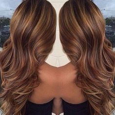 Chocolate brown with a full weave of golden blonde highlights/lowlights
