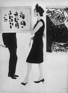 Karen Radkai forMarch Vogue 1962    Wearing a fairly fitted dress of black wool crepe by Paul Apostle.