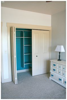 paint inside of closets an accent color