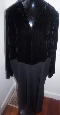 MARINA RINALDI Women's Black Velvet Long Sleeve Dress $610 NWT SZ 16 #MarinaRinaldi #Evening