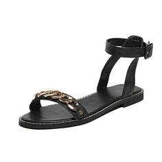 VogueZone009 Womens Open Toe No Heel Buckle Solid FlatsSandals Black 37 -- Read more  at the image link. (This is an Amazon affiliate link and I receive a commission for the sales and I receive a commission for the sales)