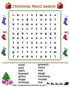 Fun With Christmas Word Search - Modern Homeschool Family Christmas Puzzle, Christmas Words, Childrens Christmas, Christmas Colors, Christmas Projects, Family Christmas, Christmas Holidays, Christmas Ideas, Christmas Party Games