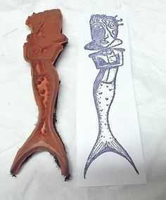 Teesha Moore rubber stamp Mermaid collage lady face fish tail unusual unmounted