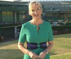 Carol Kirkwood flaunts her incredible curves in Wimbledon green dress on BBC Breakfast Carol Kirkwood, Female News Anchors, Secret Crush, Sexy Older Women, Silk Satin, New Woman, Green Dress, Pretty Woman, Beauty Women