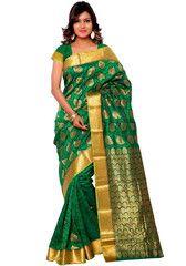 Fantabulous Forest Green Kanchipuram Silk Saree - https://www.ethanica.com/products/fantabulous-forest-green-kanchipuram-silk-saree