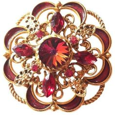1960s  Ruby Red Rivoli And Rhinestone Brooch ($100) ❤ liked on Polyvore featuring jewelry, brooches, accessories, pins, brooches & lapel pins, rhinestone pins brooches, rhinestone broach, pin brooch, filigree jewelry and filigree brooch