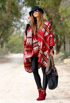 Red Mexican Poncho with Boho Pattern