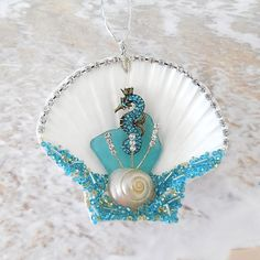 Seahorse Ornament Turquoise Seashell Sea Horse Decor Aqua