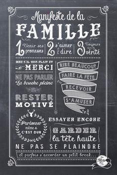 photo family manifesto Chalkboard Wall Art, Chalkboard Drawings, Chalkboard Lettering, Word Sentences, French Quotes, Spiritual Wisdom, Love Notes, Learn French, Positive Attitude