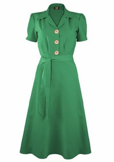 1940s Shirt Dress - Green - Fashion 1930s, 1940s & 1950s style - vintage reproduction by AislingH