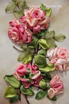 розы-вышивка шелковыми лентами