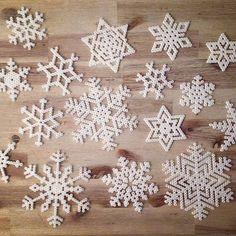 Snowflakes hama beads by craftstoreovik
