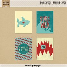 Quality DigiScrap Freebies: Shark Week journal cards freebie from Amanda Yi Designs