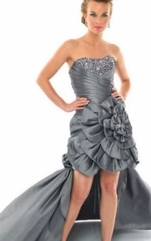 Gray Ball Gown Strapless Empire Asymmetrical Sleeveless Flower(s),Sequins Taffeta Lace-up Prom Dresses Dress