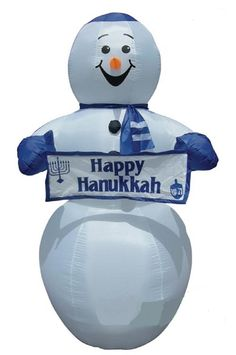 Outdoor Lawn Inflatables, Lights And Decorations For Hanukah Inflatable  Snowman With Holiday Greetings.