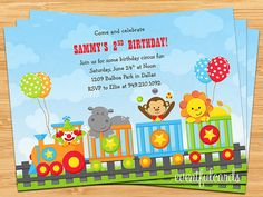 Circus Train Animals Kids Birthday Party by eventfulcards on Etsy, $15.99