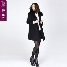 Woolen overcoat woolen outerwear fox fur collar winter fashion woolen coat England counters authentic European women's clothes