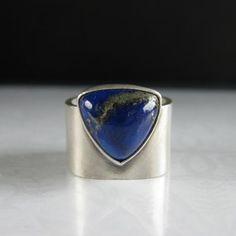 Lapis Lazulli Triangle Square Sterling Silver Ring by tkmetalarts, $250.00