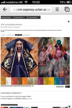 WGSN trend research - AW Modern Myth, colour board. 2014 Trends, Online Fashion Magazines, Fashion Forecasting, Textiles, Winter Trends, Future Fashion, Fashion Studio, Ethical Fashion, Color Trends