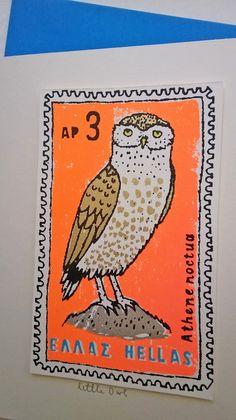 Little Owl card greek stamp by charlottefarmer1 on Etsy