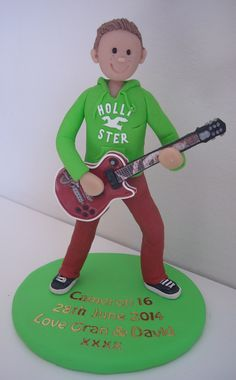 FImo Guitar Player Birthday Cake Topper