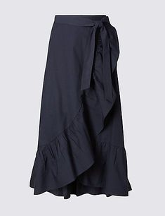 Buy the Pure Cotton Striped A-Line Wrap Midi Skirt from Marks and Spencer's range. Smart Casual Outfit, Casual Outfits, Cute Outfits, Skirt Outfits, Dress Skirt, Midi Skirt, Frilly Skirt, Modest Fashion, Fashion Dresses