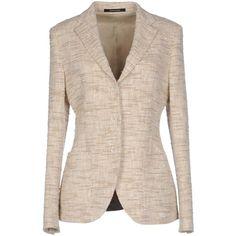 Tagliatore 02-05  Blazer ($365) ❤ liked on Polyvore featuring outerwear, jackets, blazers, beige, pink blazer jacket, pink tweed jacket, tweed blazer, blazer jacket and long sleeve blazer