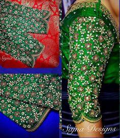 #bridalblouse #traditionaldesign #contrastcombinations #greenandredblouse #redsilksaree #kundanworkblouse #handembroideredblouse #weddingblouse