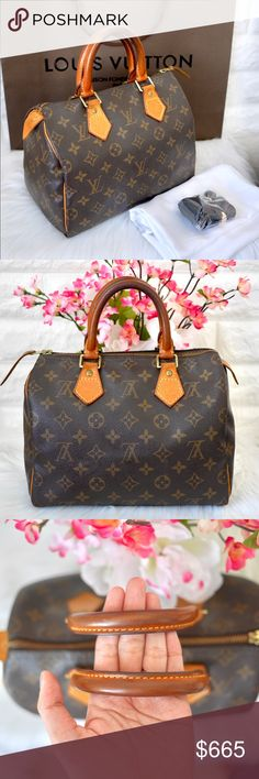 """💖Louis Vuitton Monogram Speedy 25 GREAT PRE-OWNED CONDITION.💕 ✔️No stains cracks or tears. All piping intact. ✔️Spotless interior. Zipper works softly. ✔️Beautiful honey patina on leather handles. ✔️Exterior recently cleaned with leather cleaner. ✔️Dimension: 9.84W x 7.48H x 5.9D""""  ✔️Date code: SP0052 - Made in France ✔️Buy with confidence! Poshmark will authenticate through Concierge.💕 ✔️ACCEPTING REASONABLE OFFERS! No trades. ✔️Dust bag (diff brand) and Key Fob included. Louis Vuitton…"""