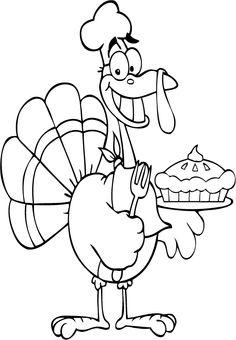 Bird Thanksgiving Given A Cake Coloring Page