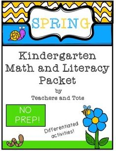 This packet includes over 30 pages of Spring-themed math and literacy activities.  Many activities are differentiated, so they may also work for first grade.  This packet would also be great for review and remediation.  Download the preview file to see all the activities included!Please leave feedback after downloading and consider following my store.