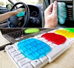 Make your own 'cleaning slime', which can be used to clean hard-to-reach spots of dust and crumbs, such as air vents and keyboards.Nx