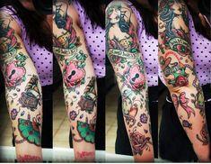 Old School Girl Gramophone tattoo sleeve | Best Tattoo Ideas Gallery