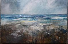 Kristan Baggaley. Incoming Tide, Zennor, Cornwall. Mixed Media on Board