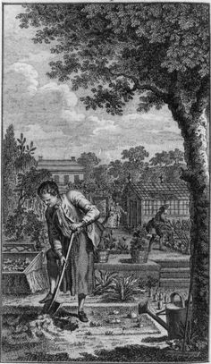 1767 Frontispiece of Thomas Mawe John Abercrombie Every man his own gardener Vintage Farm, Vintage Decor, How To Draw Tears, Artistic Visions, Garden Design Plans, London History, Black And White Painting, European Paintings, Historical Architecture
