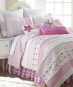 Marley Ruche Twin Quilt Set Pink, White Stripes with Multicolored Dots: Twin size includes one std sham Pre washed and luxury oversized Machine washable Decorative pillows and bed skirt also available Size: + Girls Twin Bed, Girls Bedroom, Bedrooms, Bedroom Decor, Ruffle Quilt, Twin Quilt, Big Girl Rooms, Bed Sets, Quilt Sets