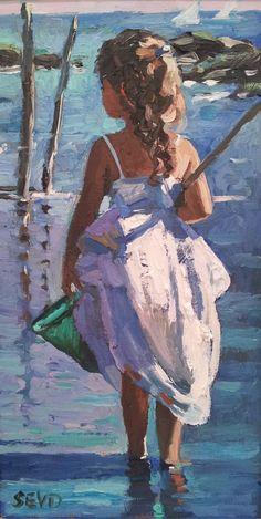 Sherree Valentine Daines | St Ives Art Gallery - Waterside - St Ives Painting People, Artist Painting, Figure Painting, Painting & Drawing, Seaside Art, Beach Art, Impressionist Paintings, Portrait Art, Beautiful Paintings