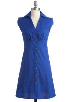 Oh Happy Date Dress in Cobalt - Mid-length, Casual, Pinup, Buttons, Pleats, Blue, Solid, Shirt Dress, Cap Sleeves, Summer