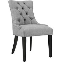 Upholstery Chair – Modway Regent Modern Elegant Button-Tufted Upholstered Fabric Dining Side Chair with Nailhead Trim in… Fabric Dining Chairs, Solid Wood Dining Chairs, Chair Fabric, Upholstered Dining Chairs, Dining Chair Set, Dining Furniture, Furniture Ideas, Modern Furniture, Dinning Chairs