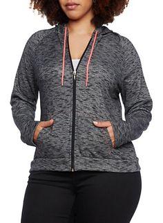 Plus Size Zip Front Hoodie with Split Kangaroo Pockets