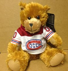 Montreal Canadiens Sitting Bear with Jersey Sports Merchandise, Montreal Canadiens, Nhl, Hockey, Teddy Bear, Animals, Animaux, Field Hockey, Animales