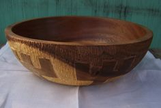 The Ginnur Bowl - Beautifully grained Acacia large offering bowl refinished and hand carved with bind rune