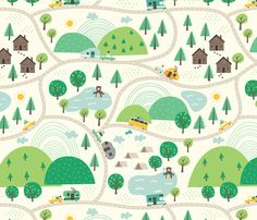 Lets Go Camping fabric by Stacy Iest Hsu on Spoonflower.  Stacy is the amazing illustrator that designs for Sunrise Girl.